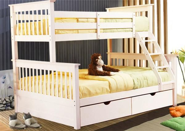 Solid Wood Kids Bunk Beds White Twin Full Bunk Bed For