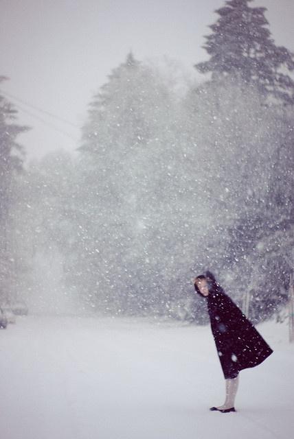 through the snow.
