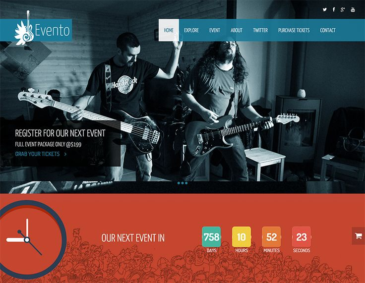 Evento is a Onepage music event html template powered by twitter bootstrap 3. This free responsive template has event countdown, fullscreen slider,...