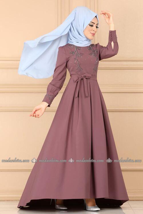 Modaselvim Abiye Incili Ve Kuyruklu Abiye 9308w153 Gul Kurusu Model Pakaian Wanita Pakaian Wanita Model Pakaian