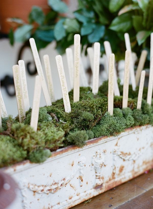 Garden Wedding Seating Cards: Wood plant markers calligraphed with guest names onto them are tucked into a stone container filled with moss.
