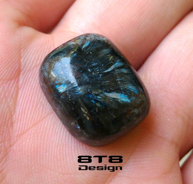 Arfvedsonite with Seidozerite & Pyrite, Palm Stone Cabochon 30.9 carats. Rare Minerals, Rare Stones. Wholesale Gemstones. FREE Shipping! by 8T8Design on Etsy