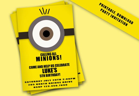 Despicable Me Minion Birthday Invite by KelevGirlDesigns on Etsy, $10.00