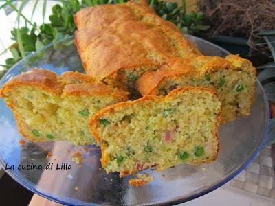 Torte salate Plum cake salato con piselli, cipolla e panc...