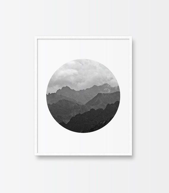 Black and White Photography, Printable Art, Mountain Range, Ombre Effect, Circle Print, Minimalist Art, Printable Wall Decor, Shades of Gray