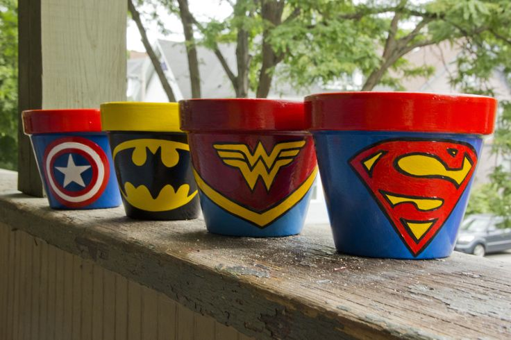 Superhero flower pots great for planting and or decorations and candy dishes for children's parties, superhero themed weddings, store, bedrooms and more!
