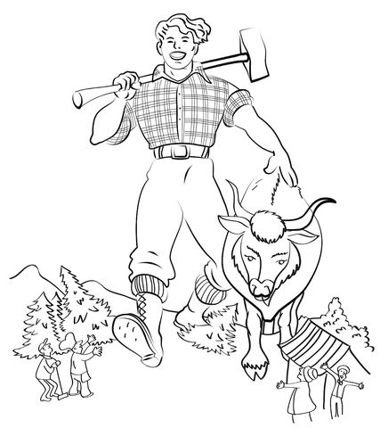 free paul bunyan coloring pages - photo#2