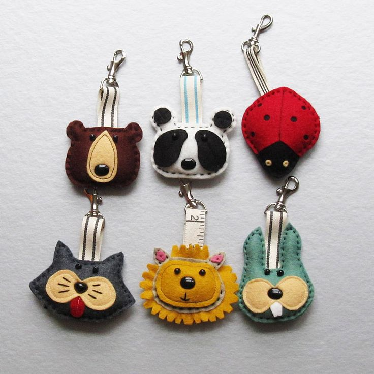 Ten designs    http://www.notonthehighstreet.com/thebigforest/product/handmade-animal-felt-key-ring