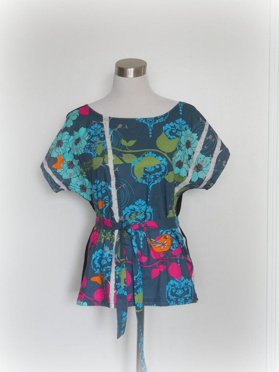 tunic boxy top kimono sleeve teal birds in by missfancypantspinup, $69.00