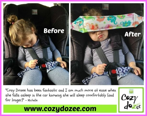 Cozy Dozee www.cozydozee.com A car seat head strap/support for sleeping children in the car