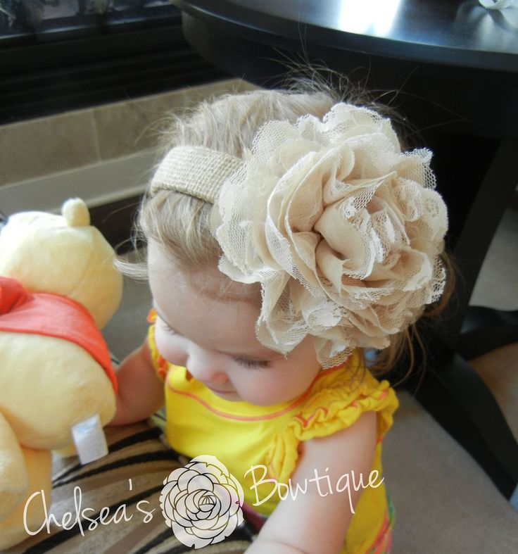Shabby Chic Fabric Flower Burlap Headband - Toddler Girls Women - Everyday Headband - Wedding Headband - Flower Girl