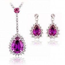 Set bijuterii unicat Safiria placate cu Platina si cristale Cubic Zirconia culoare Ametist