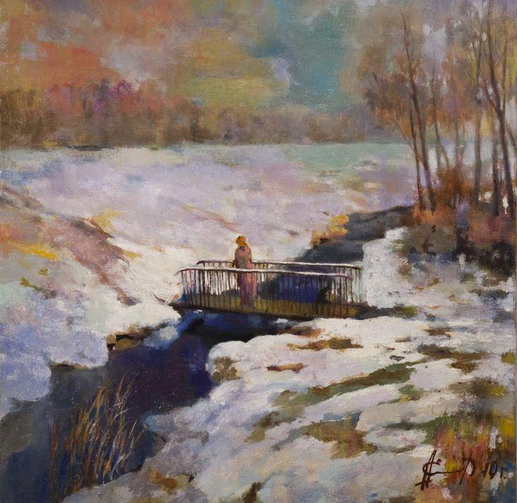 Александр Елисеев. Зимний мостик, 2010 | Холст, масло, 50х50, без багета