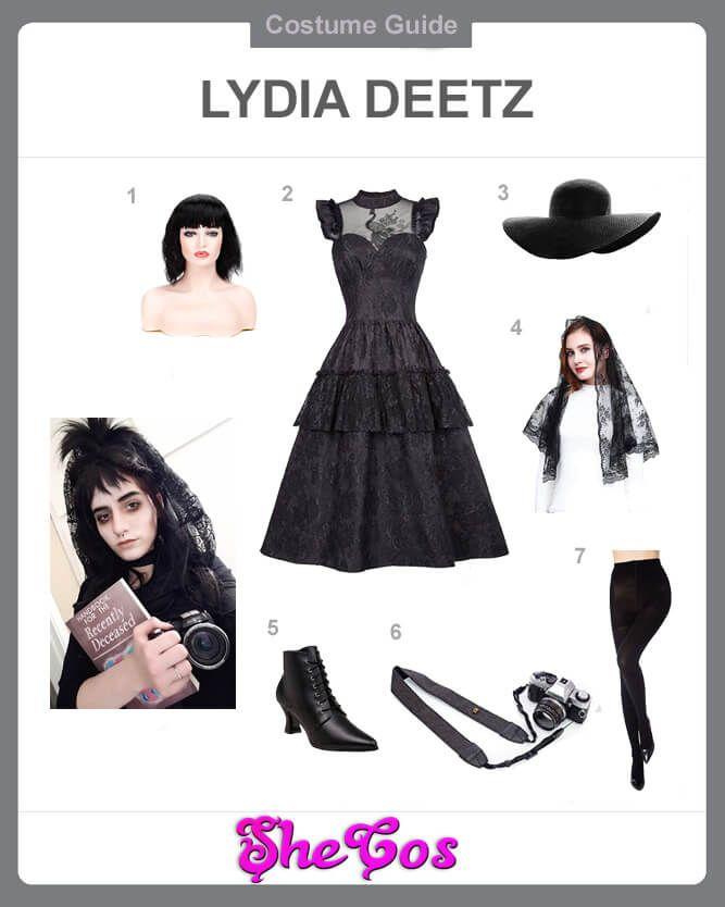 The Ultimate Beetlejuice Lydia Deetz Costumes Guide Shecos Blog In 2020 Lydia Deetz Costume Lydia Deetz Costume Ideas Beetlejuice Outfits
