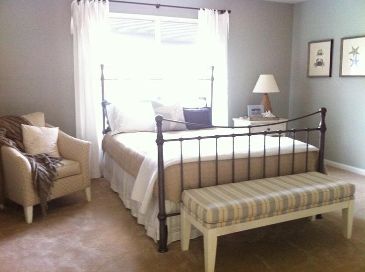 "Guest room, Farrow& Ball light blue, framed sea life prints, sheer white ""sundress drapes"", mcubed interiors"