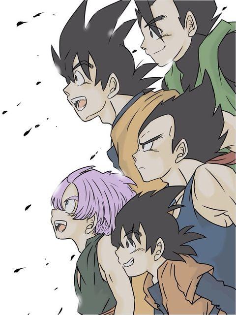 Vegeta, Goku, Gohan, Trunks, and Goten