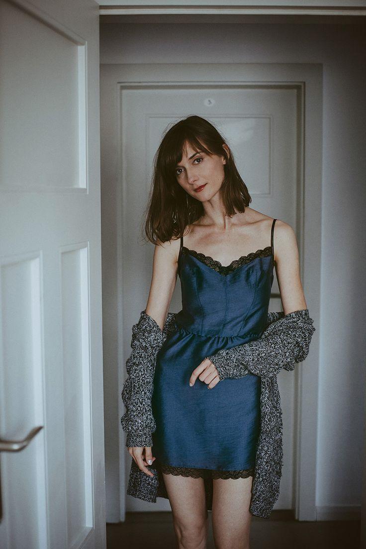 Koszulka nocna Audrey Navy Blue | Lunaby
