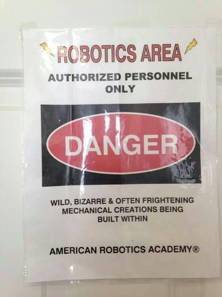 Robotics danger sign   science fair ideas   Pinterest