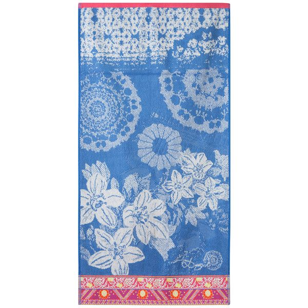 Desigual Exotic Jeans Jacquard Towel - Guest Towel featuring polyvore home bed & bath bath bath towels blue tropical bath towels flowered bath towels jacquard bath towels desigual blue bath towels