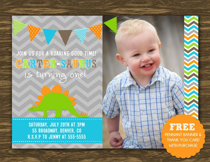 19 best Hunteru0027s Dinosaur 1st Birthday Party ideas images on - first birthday invitation templates free