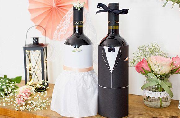 DIY Hochzeitsgeschenk: Weinflaschen als Brautpaar – Hochzeitsgeschenk