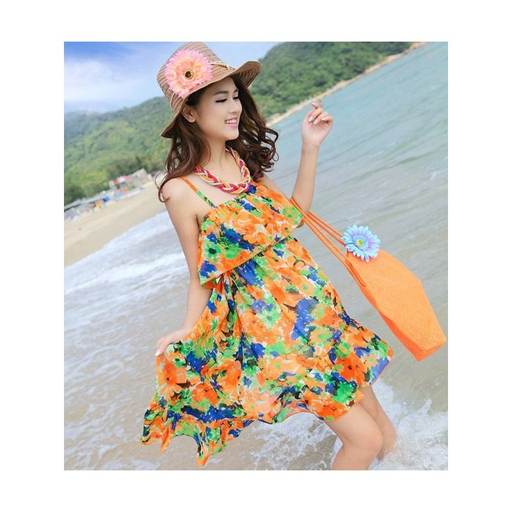 Yellow Floral Beach Mini Dress MD530 Model  1060716 Condition  New  MD530 Orange-yellow chiffon bust60-98 length82 240gr 130   Retail IDR170.000	Reseller IDR127.500	Wholeseller IDR106.250