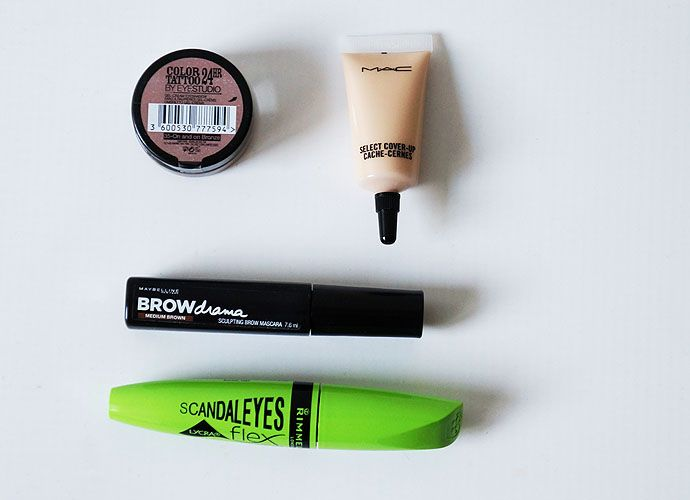 Maybelline Brow, Rimmel Mascara, Mac Select Cover up, Maybelline