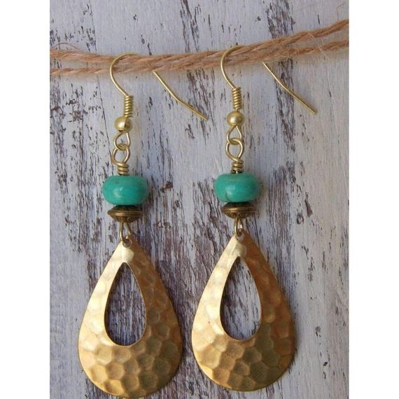 Brass textured hammered metal earrings ~brass textured Teardrops ~blue #turquoise ~brass accents ~FIsh hook wire earhooks Measures 2 1/2 inches from top of earwire #earrings