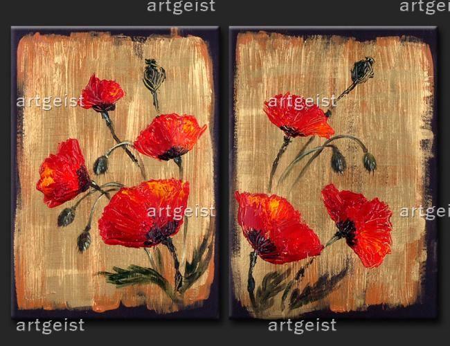 Obraz maków inspirowanych tradycyjnymi płótnami. Zobacz inne obrazy ręcznie malowane na płótnie z motywami kwiatowymi: #obrazy #recznie #malowane #tryptyki #dekoracje #ścienne #kwiaty #maki