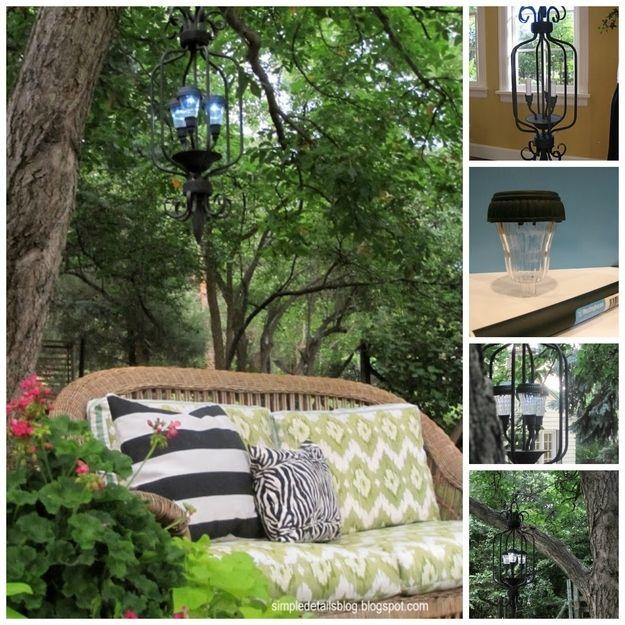 Upcycled Outdoor Chandelier   28 Outdoor Lighting DIYs To Brighten Up Your Summer