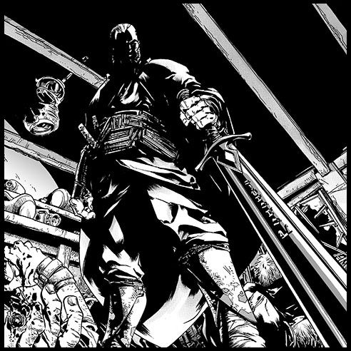 Durzo Blint wielding Retribution from the graphic novel adaptation of the Night Angel Trilogy.