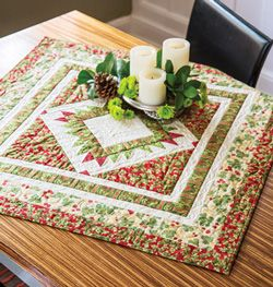 Christmastide minature quilt easy holiday quilted table topper half square triangle minature quilt