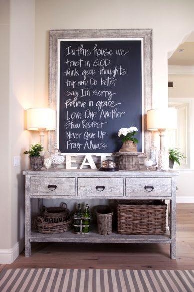 Entryway or Kitchen idea. Replace the table with your desired wood-type. If you like a Mediterranean look, replace some baskets with wine and other vintage bottles. Replace EAT with a French or Italian word (you can find a lot of this at HobbyLobby). On chalkboard, pick a scripture that means a lot to your family or a quote!