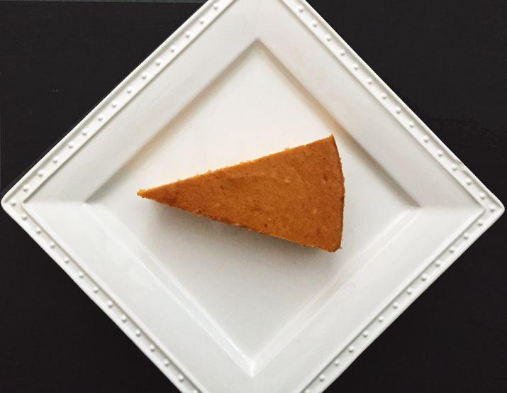 Alton Brown Pumpkin Cheesecake Recipe - uses brown sugar for depth of flavor - pumpkin, ginger, nutmeg, brown sugar, vanilla, 3 eggs, 16 oz cream cheese. Crust uses  ginger cookies, dark brown sugar, salt, butter.