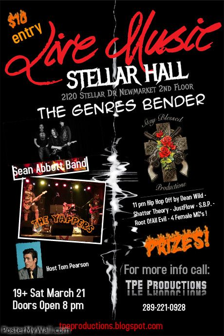 Sat March 21 features Blues, rock,reggae and a splash of country early on Influenced and played with greats!  Hip Hop after 11 completes The Genres Bender evening with great feature acts line up!