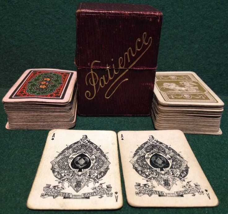 Vintage Goodall London Complete Twin Set Patience Card Game Leather Effect Box