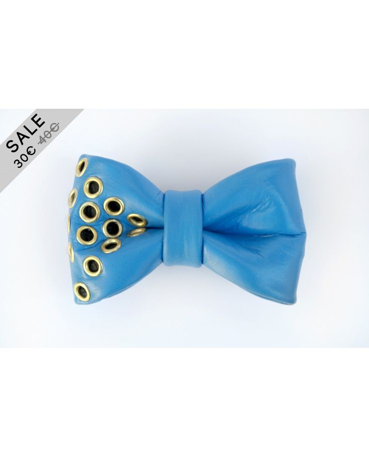 ON SALE  blue handpainted studded leather bow tie  www.popties.com