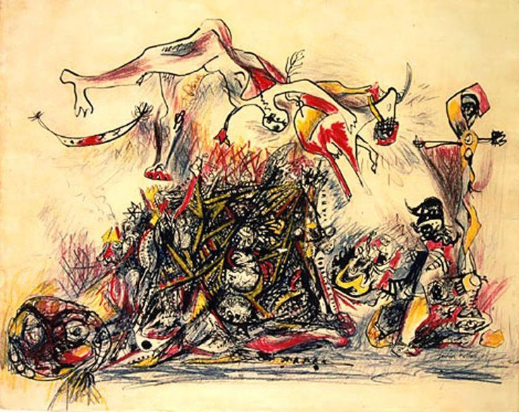 """""""War"""", Oil by Jackson Pollock (1912-1956, United States)"""