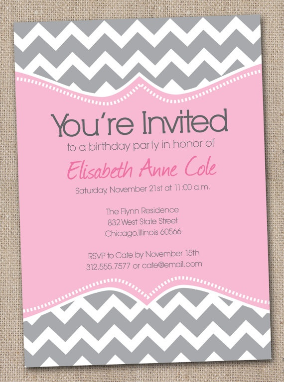 Girls Birthday Party Invitations Pink and by InkObsessionDesigns, $16.00