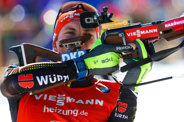 Benedikt Doll of Germany wins the gold medal during the IBU Biathlon World Championships Men's Sprint on February 11, 2017 in Hochfilzen, Austria.