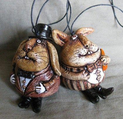 Колокольчики ручной работы. Ярмарка Мастеров - ручная работа. Купить Зайцы - Кролики.. Handmade. Коричневый