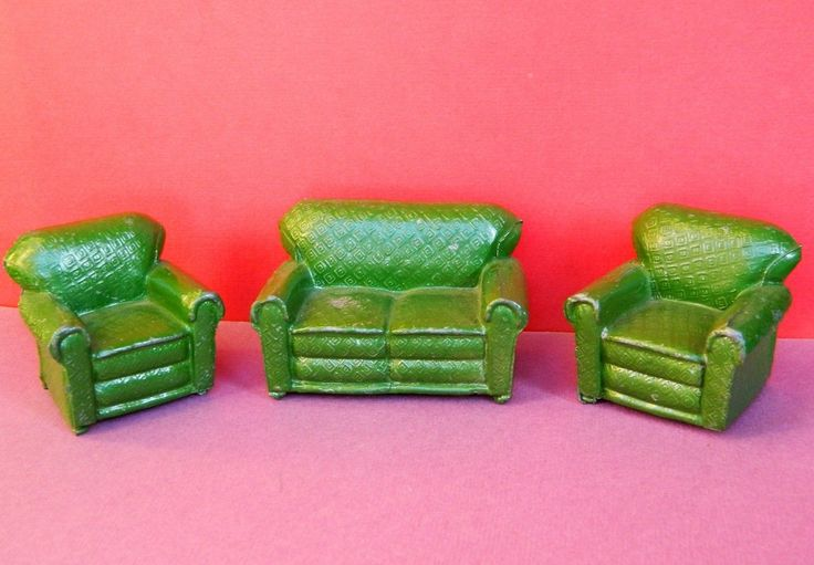 CHARBENS PRE-WAR VINTAGE 1930s RARE LEAD DOLLS HOUSE GREEN THREE PIECE SUITE | eBay