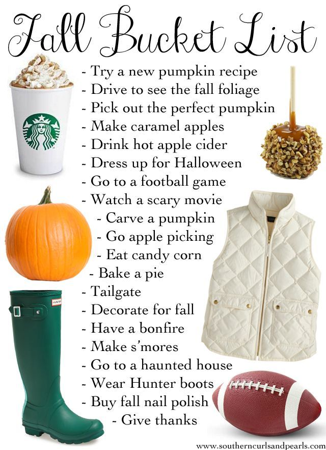 Thanksgiving and fall ideas - Fall Bucket List of items to-do.