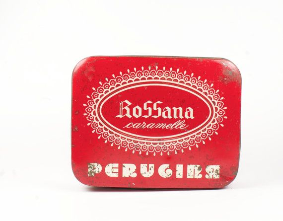 Vintage red and gold tin candy box - Rossana Caramelle