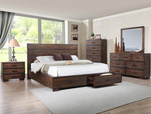 B8200 5 Pc Cranston Rustic Wood Finish Wood Queen Bedroom Set