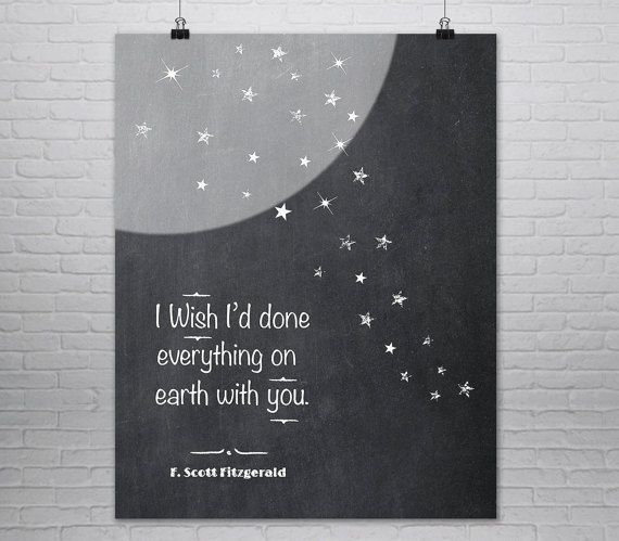 F. Scott Fitzgerald Quote Print Great Gatsby By MondayMoonDesign