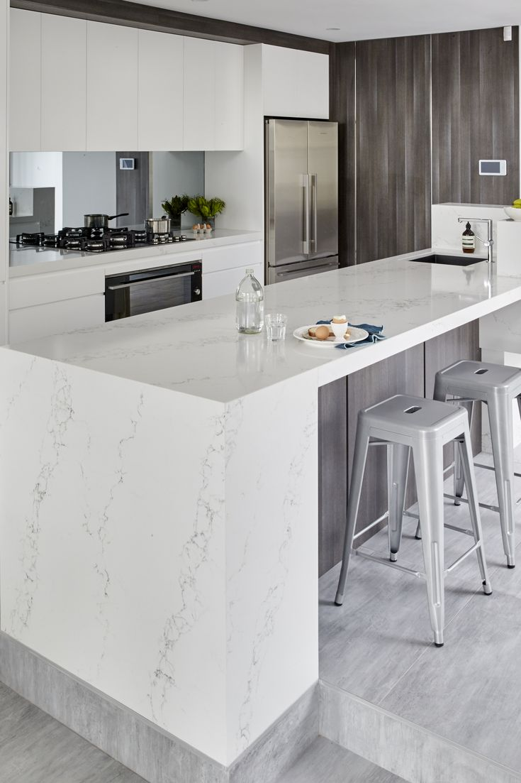 Quantum Quartz engineered stone benchtop.  White & Grey kitchen inspiration.