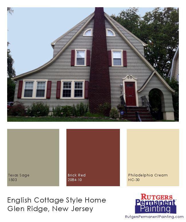 Rutgers Permanent Painting: English Cottage Style in Glen Ridge.  Colors: Texas Sage, 1503; Brick Red, 2084-10; Philadelphia Cream, HC-30.