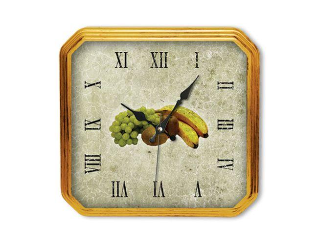 Meyveli Mutfak Duvar Saati  Ürün Bilgisi;  Akrilik Boyalı Plastik Çerçeve Ebad 27,5 x 26,5 cm Mineral Cam Sessiz Akar Saniye