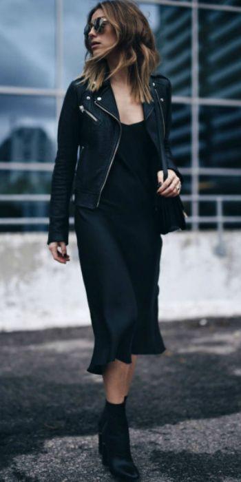 Jill Lansky + gorgeous black slip dress + slick leather jacket + heeled black ankle boots + casual but elegant street style  Jacket: Mackage, Dress: John Patrick, Bag: Celine, Boots: Philip Lim.